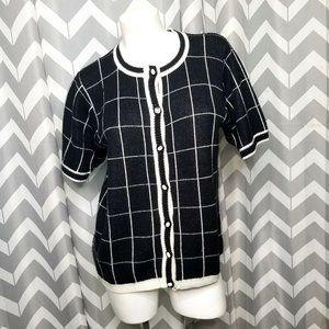 VTG ALFRED DUNNER black & white button up sweater